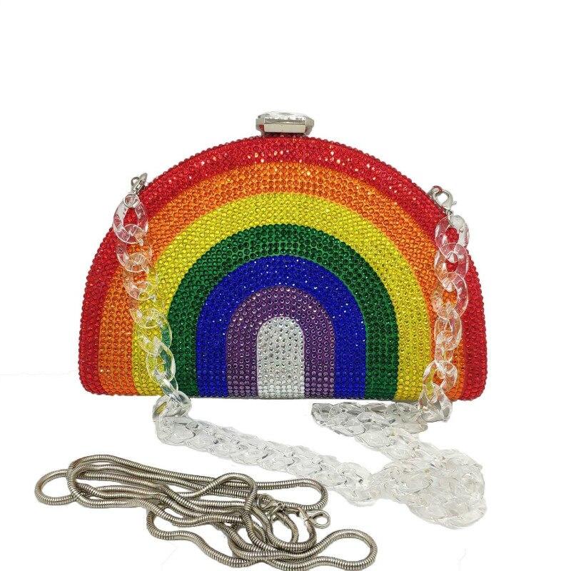 New Lady Factory Full Crystal Stone Rainbow Evening Bag Diamond Metal Box Colorful Rhinestone Hardcase Clutch Bag for Wedding