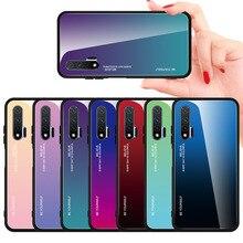 Huawei Nova6 6SE 5 Pro 5i 4 3 degrade cam telefon kılıfı için Huawei P30 lite P20 Pro Dazzle renk kabuk temperli cam kapak