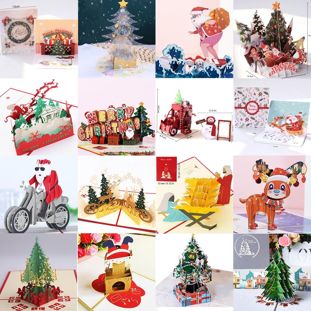 Открытки с 3D выдвижным Сантой на Рождество, приглашения на вечерние, подарки на новый год, поздравительные открытки, подарки на годовщину, о...