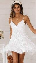 Uguest Women White Lace Mini Dress V-neck Sleveless Reveal Back A-line High Street Patchwork Spaghetti Strap Summer Party Dress
