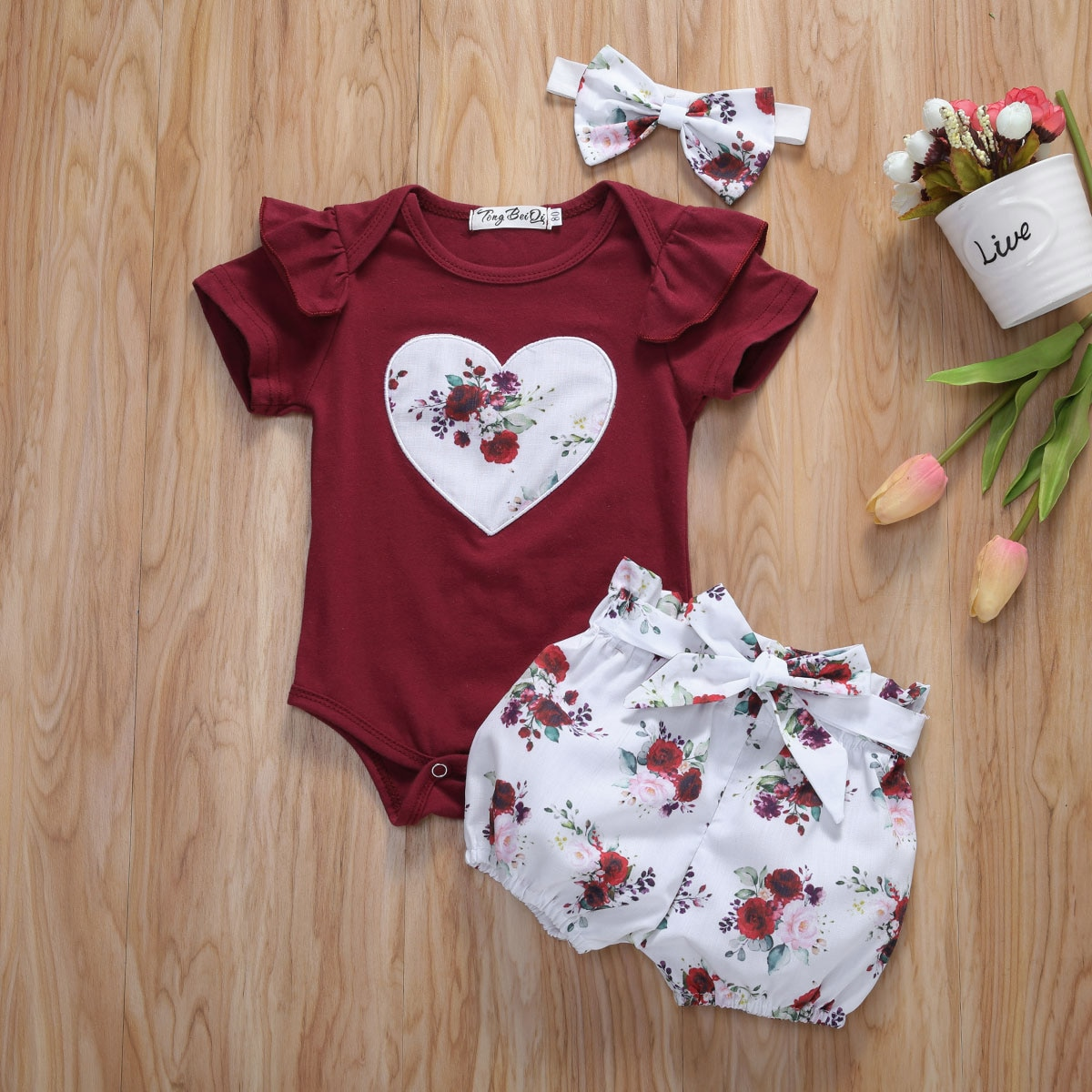 Pudcoco Newborn Baby Girl Clothes Flower Print Peach Heart Short Sleeve Romper Tops Short Pants Headband 3Pcs Outfits Sunsuit