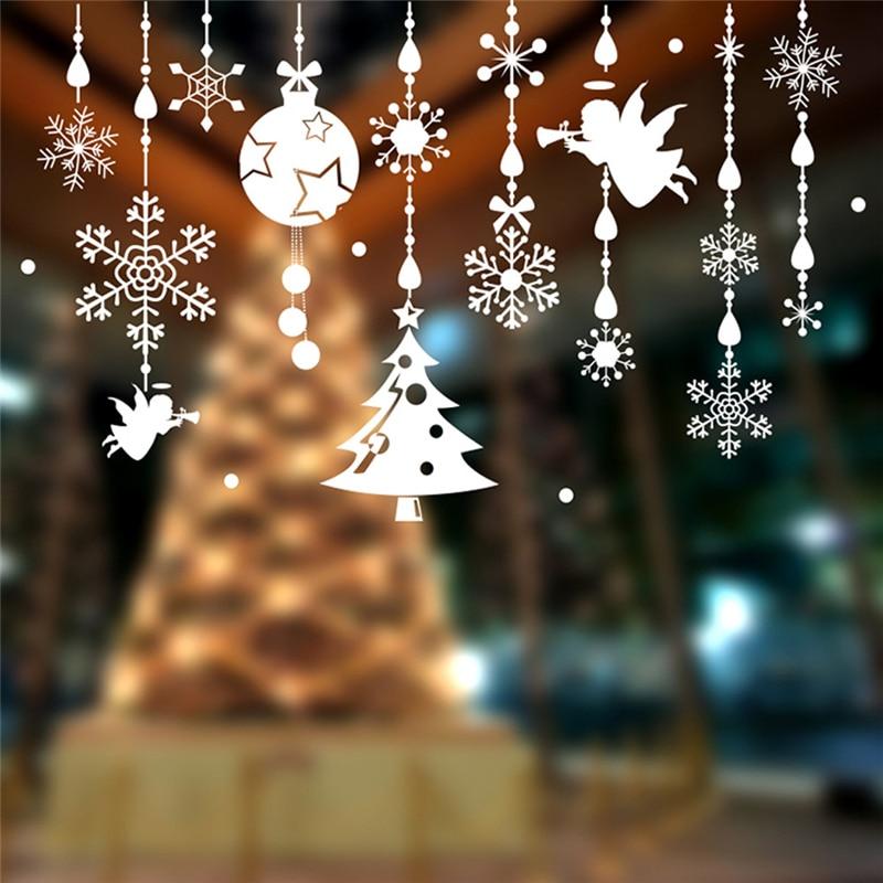 Pegatina navideña Para pared, dibujo de Navidad de Ángel, 60x90cm, resistente al...