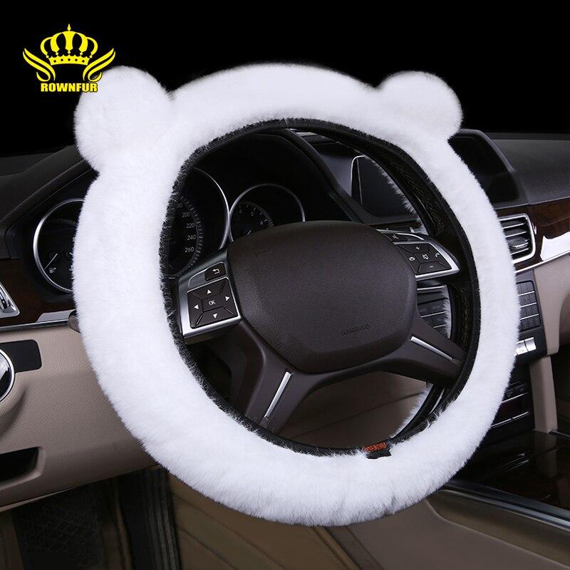Capa de volante de carro de pelúcia universal pele artificial interior do carro macio e confortável preto tamanho 37-39cm cobertura de volante
