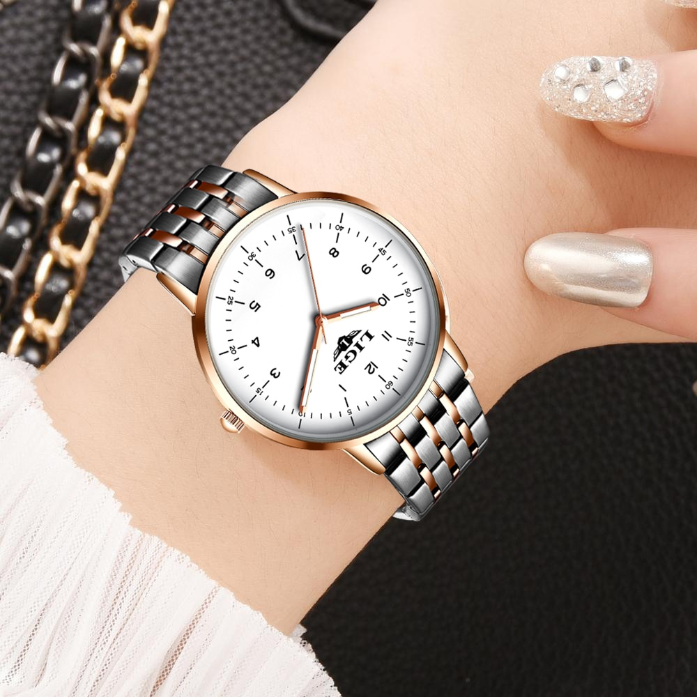 LIGE Luxury Fashion Woman Bracelet Watch Women Casual Waterproof Quartz Ladies Dress Watches Gift lover Clock relogio feminino enlarge