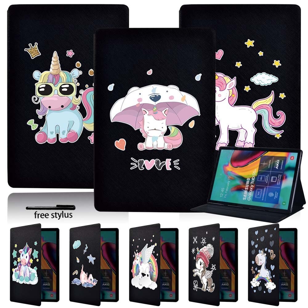 Folding Stand Tablet Case for Samsung Galaxy Tab A A6 7.0 10.1 Inch/A 9.7 10.1 10.5 Inch/Tab E 9.6 Inch/Tab S5e 10.5 Inch + Pen