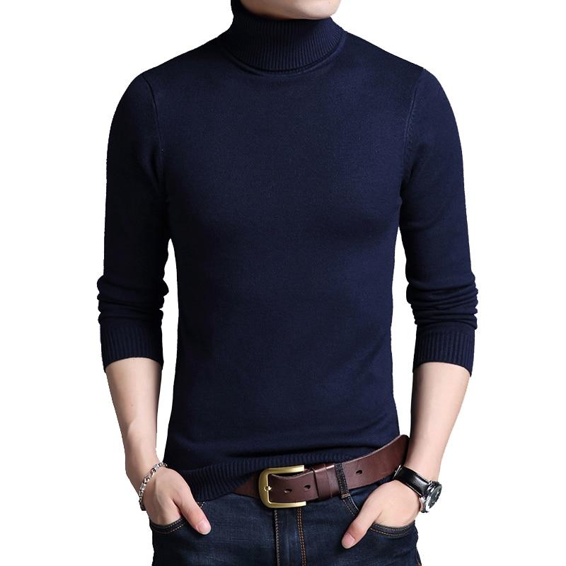 BROWON Brand-sweater 2020 Slim Thickened Men's Base Coat Turtleneck Sweater Men Sweater Knitwear Long Sleeve Basic Sweater