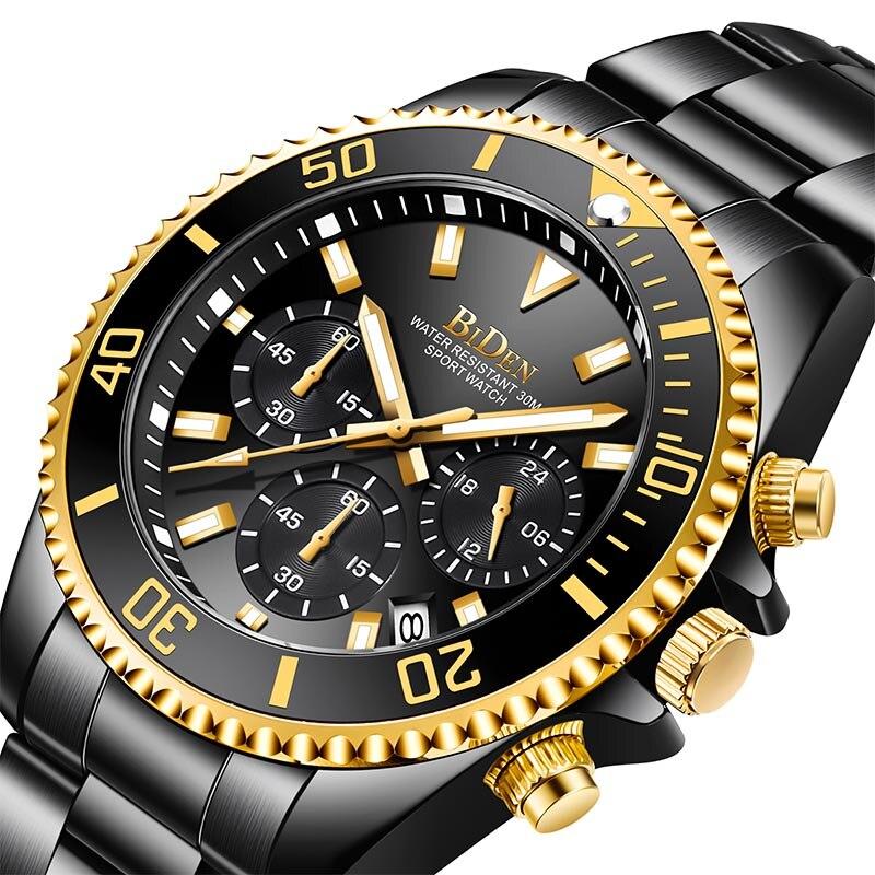 Relojes de cuarzo con cronógrafo para hombre, resistente al agua, lumioso, reloj de pulsera de 24 horas para hombre, esfera verde