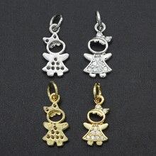 17x7mm 100% CZ Zircon DIY Jewelry Girl Charm Pendant Wholesale Top Quality Jewellery Accessories Bra