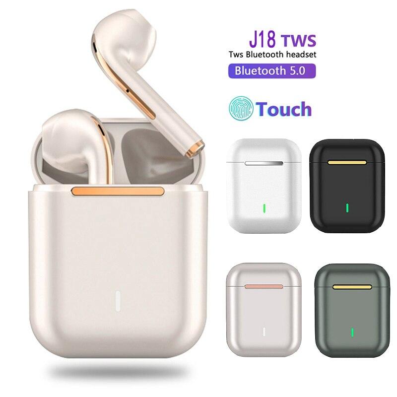 TWS J18 سماعة رأس بلوتوث لاسلكية ، سماعة ألعاب ، سماعات رياضية للهواتف الذكية التي تعمل بنظام Android و iOS ، تحكم باللمس ، جديد