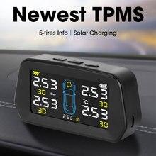 Car TPMS Tire Pressure Monitoring Alarm Sensor Solar Power Digital LCD Display Auto Security Alarm S
