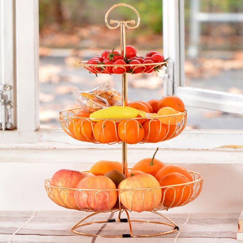 الحديد ثلاثة طبقة سلة التخزين الفاكهة المطبخ السلطانية انفصال حامل كيك معدني حامل الحلوى المنظم