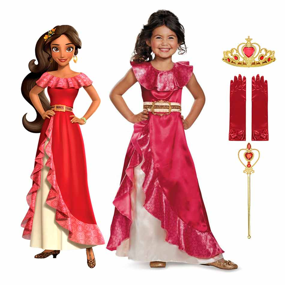 disney elena of avalor princess dress for girls delicate halloween cosplay costume princess party kids summer carnival frocks