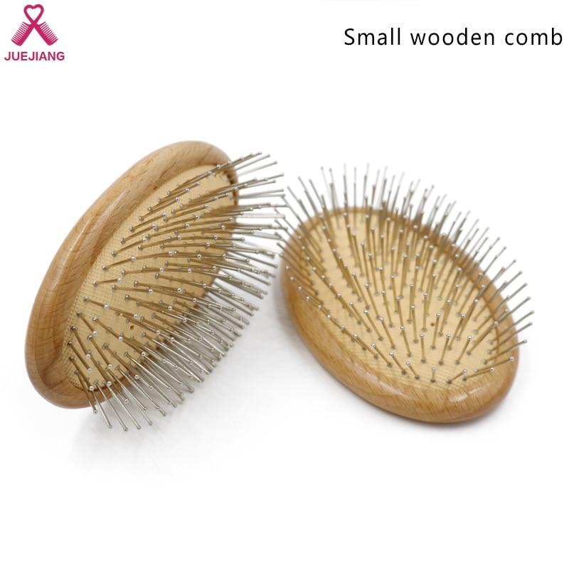 Cepillo de madera para desenredar el cabello, peine de acero para estilizar el cabello, cepillo de masaje de cabeza redonda de dientes anchos, herramienta para reducir la pérdida de cabello