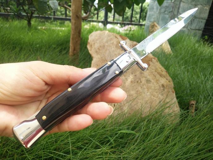 Itália swingguard 440 boi chifre única ação tático auto defesa dobrável edc bolso faca de acampamento facas caça presente natal