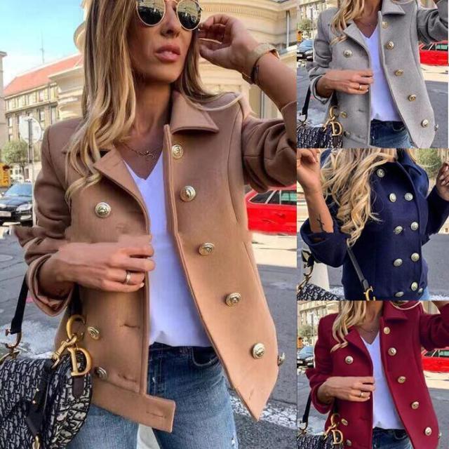 2020 Woolen Coat Turn-down Collar Double Button Slim Solid Color Jackets Winter Coat Women Elegant Winter Ladies Coat Wool