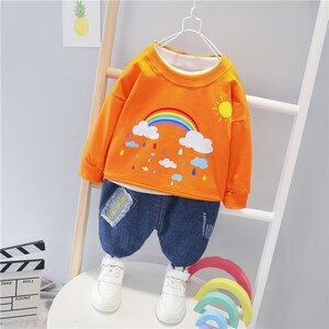 2021 Spring New Casual 0-5 Year Old Children's Suit Boy Clothing Baby Rainbow Hoodie and Trousers 2-pieces Sets