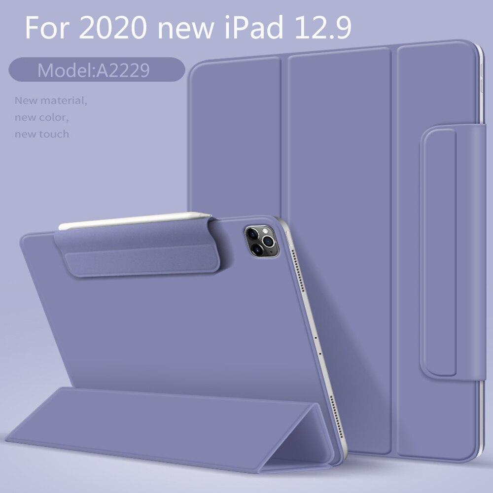 حافظة لجهاز iPad Pro 2020 12.9 بوصة حافظة ذكية ثلاثية الطي مغناطيس خلفي واقي مشبك مشبك لجهاز iPad Pro12.9 4th من الجيل A2229
