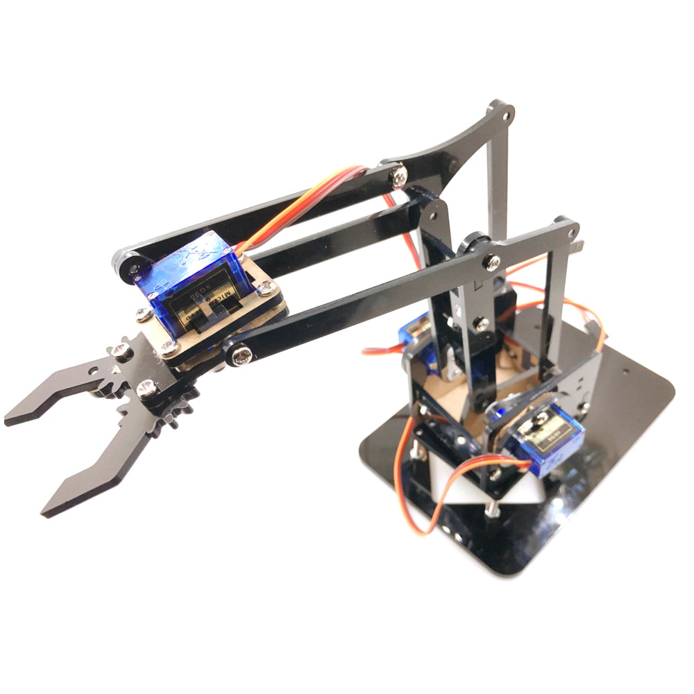 Cheapest 4 DOF Acrylic Robot Arm for Arduino Robotic Gripper Claw with SG90 Servos for Rasbperry Pi DIY Project STEM Toy
