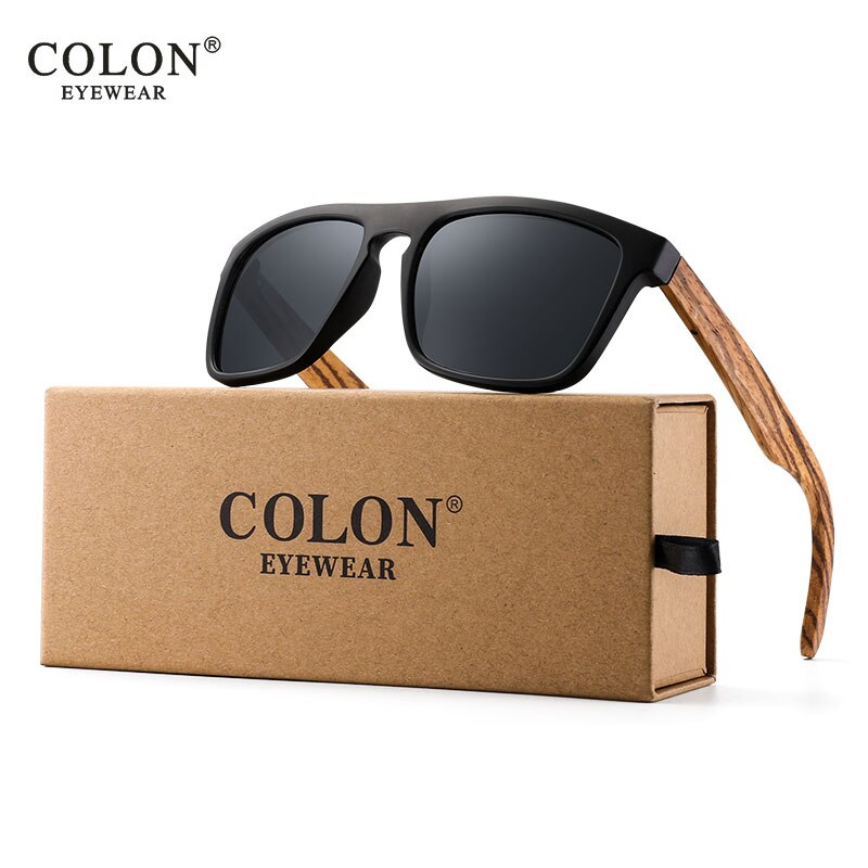 Zebra Wood Sunglasses Polarized Square Sun glasses Men Women Mirror Red Lens Driving UV400 Eyewear 2020 New style
