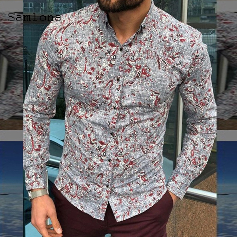 Fashion Tops 2021 Mens Blouse Summer Casual Shirts Male Elegant Leisure Sexy Clothing  Long Sleeve Flower Print Shirt blusas Man