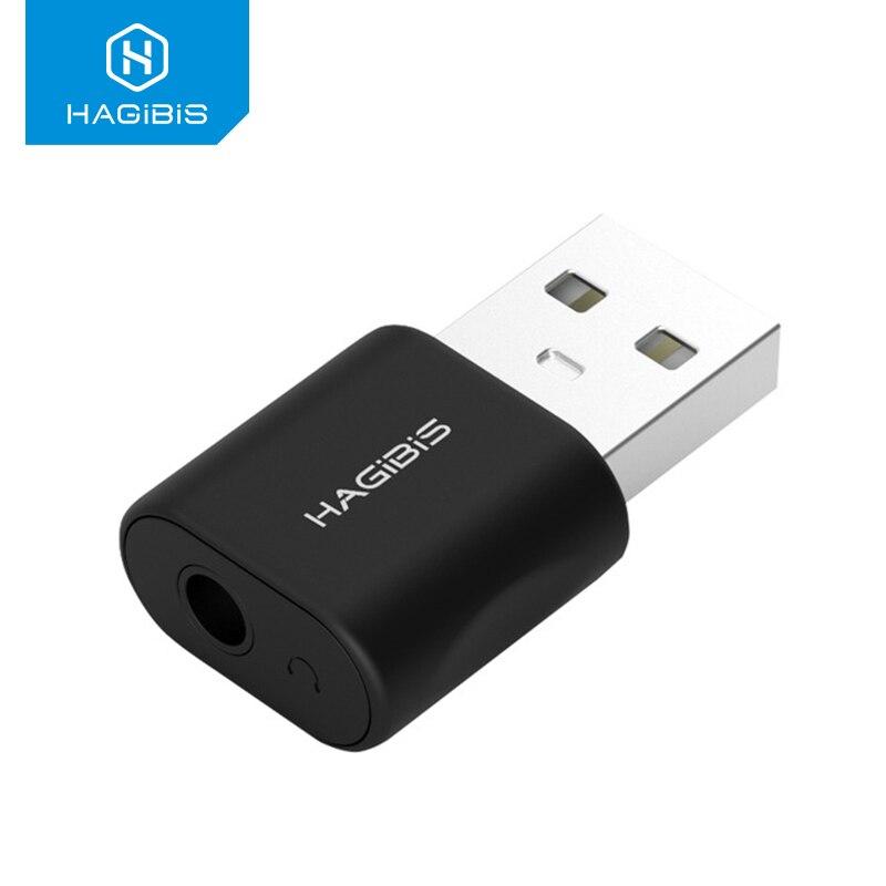 Hagibis USB tarjeta de sonido externa convertidor USB a Jack 3,5mm adaptador Audio para auriculares Mic tarjeta de sonido para PC portátil Adaptador de Audio