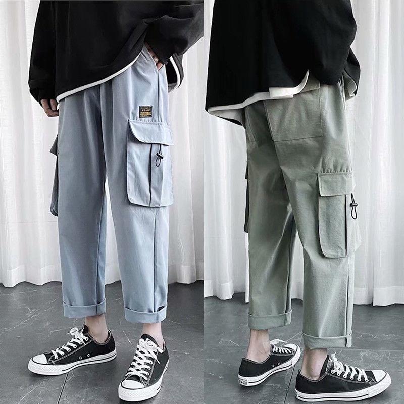Летние брюки-карго для мужчин, Универсальные мужские прямые брюки в стиле Kpop, стиль преппи, повседневные Прямые черные брюки в стиле сафари