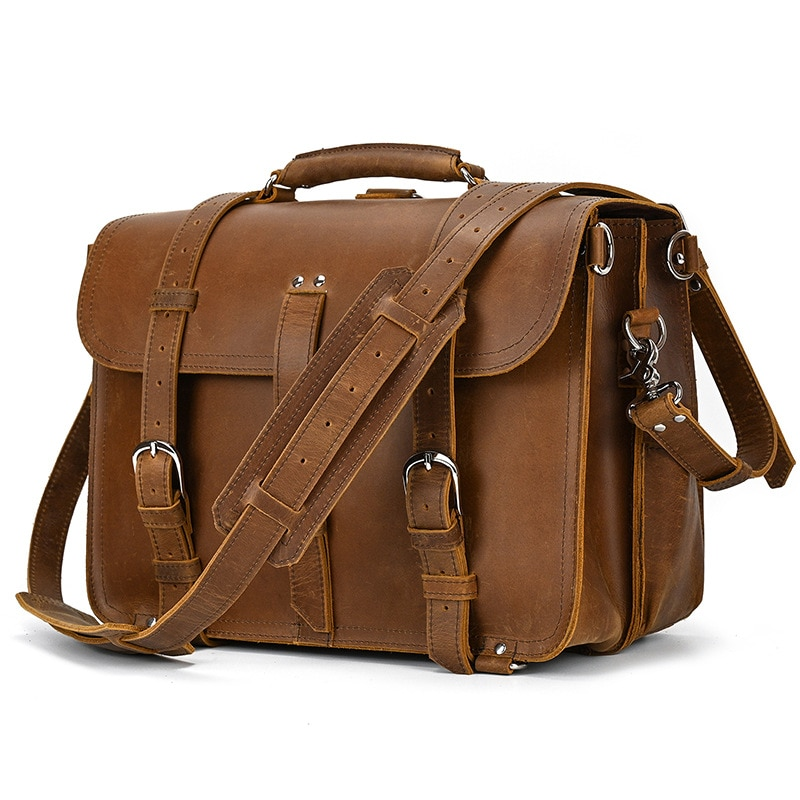 European and American leather retro travel bag men's leather hand luggage bag large capacity casual fashion one-shoulder diagona
