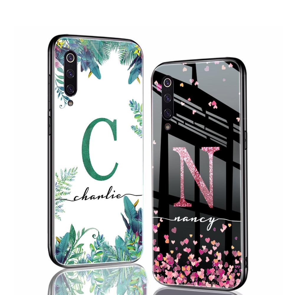 ciciber Cases For Xiaomi MI 9 9T 8 6X A2 Mix 2 2s Pocophone F1 Art Custom Name Glass Cover For Redmi Note 8 7 6 5 Plus Pro Funda