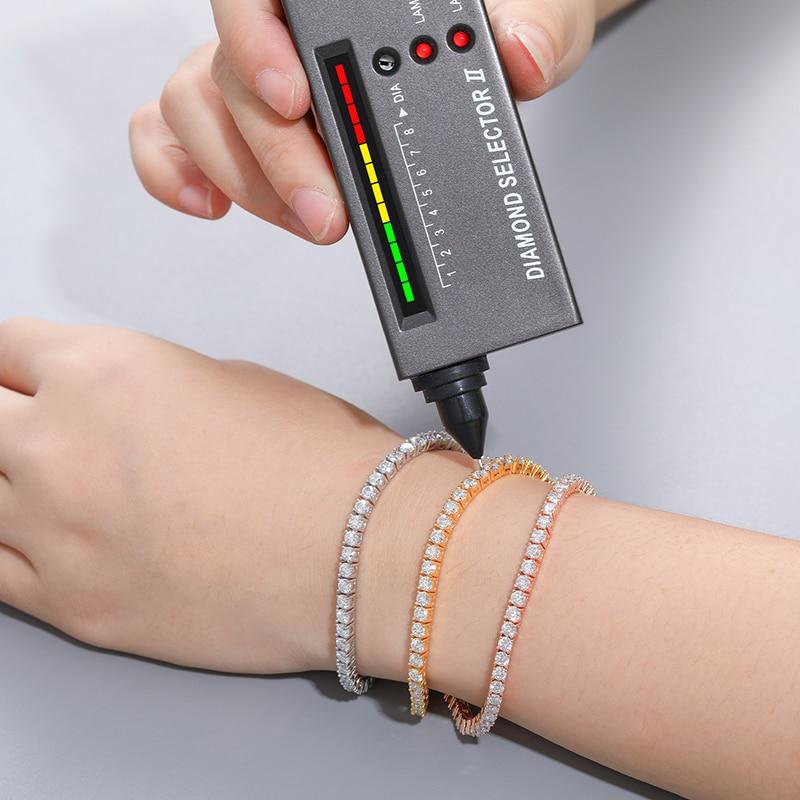 2.5mm-5mm  Moissanite Tennis Chain Bracelets 925 Sterling Silver Mens/Women Hip Hop Jewelry