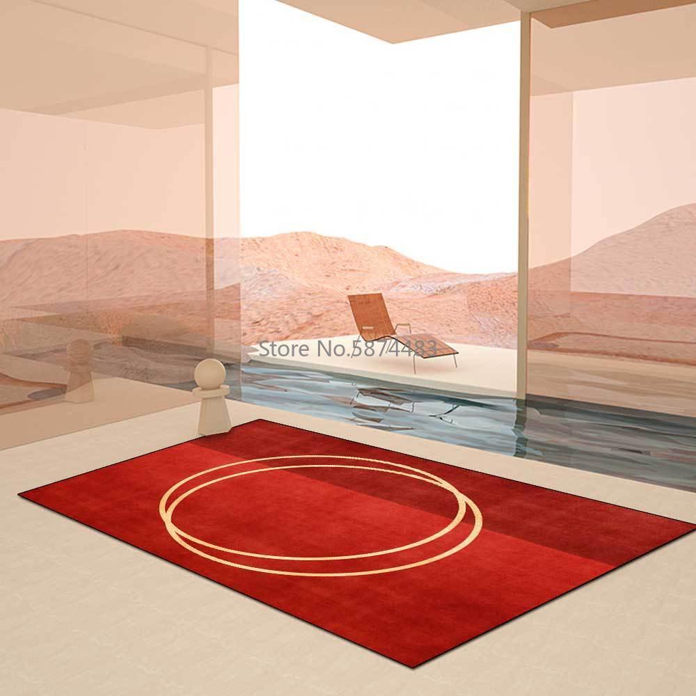 سجادة طاولة لغرفة المعيشة ، 200 × 300 سنتيمتر ، عصرية ، بسيطة ، صينية ، حمراء ، كبيرة ، غرفة نوم ، طاولة بجانب السرير ، قابلة للتخصيص