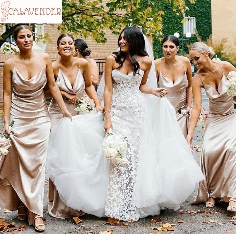 فستان إشبينة العروس من الساتان ، لون ذهبي وردي ، سباغيتي ، خط a ، أنيق ، لحفلات الزفاف ، مطوي ، أنيق