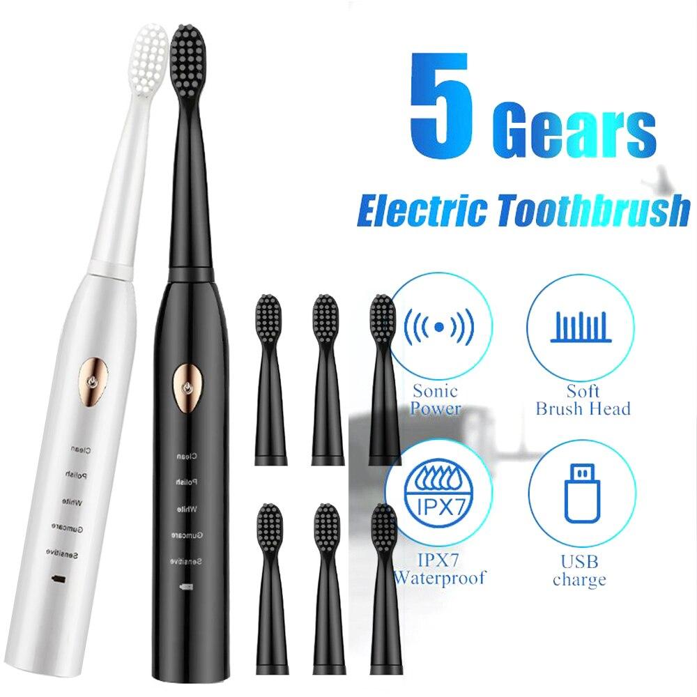Cepillo de dientes eléctrico ultrasonico... recargable... lavable... blanqueamiento de dientes electrónico... temporizador...