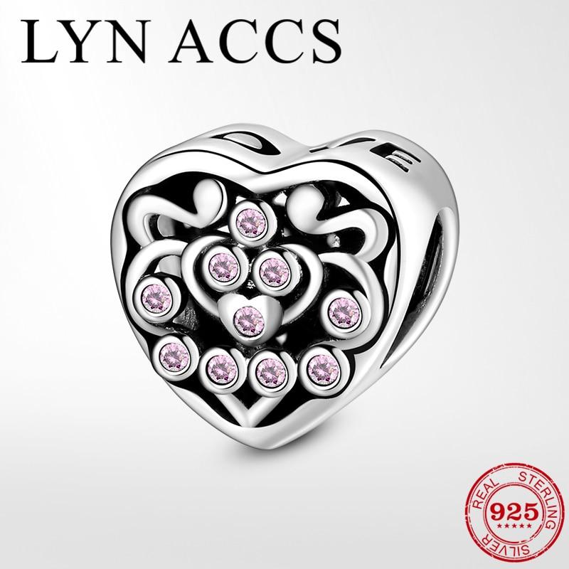 Eternal love 925 Sterling Silver Pink Zircon Letter Love Heart Beads Charm Fit Original Pandora Bracelets Fine Jewelry Gifts