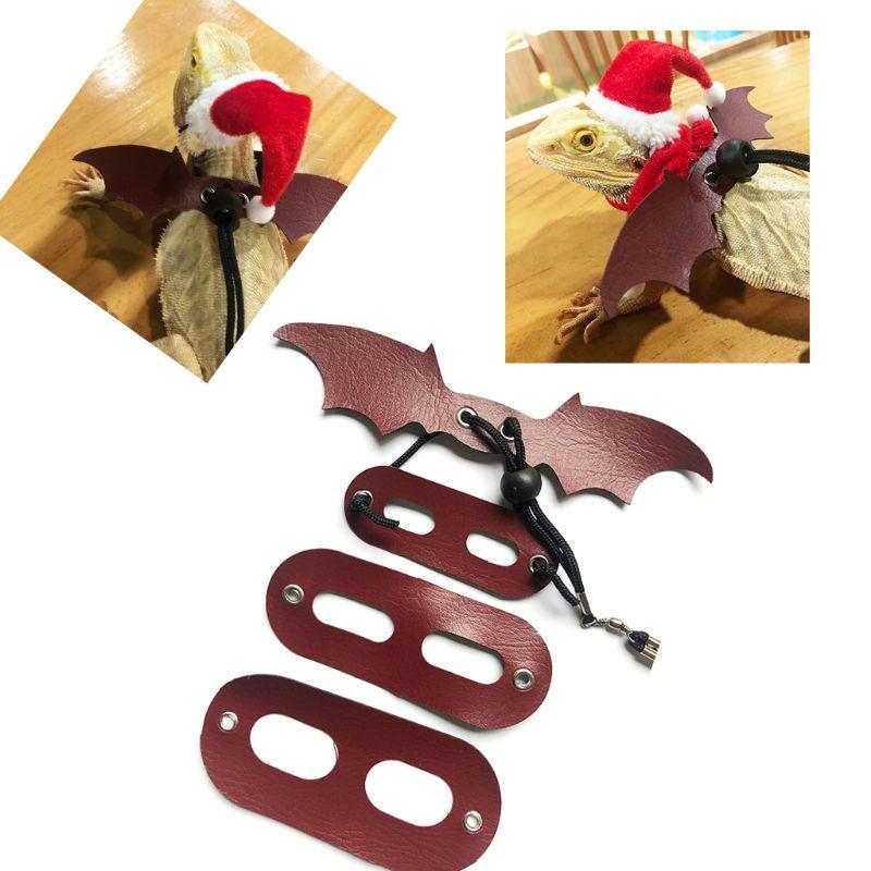 Dragón Barbudo lagarto Santa sombrero + bufanda + cuerda de tracción Navidad traje de Navidad conjunto B85C