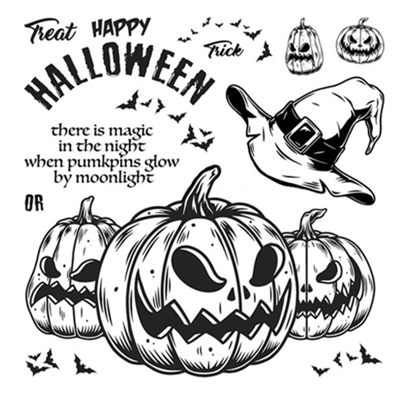 Halloween Clear Stamps for New 2021 Paper Making Pumpkin Scrapbooking Embossing Frame Card Set No Metal Cutting Dies
