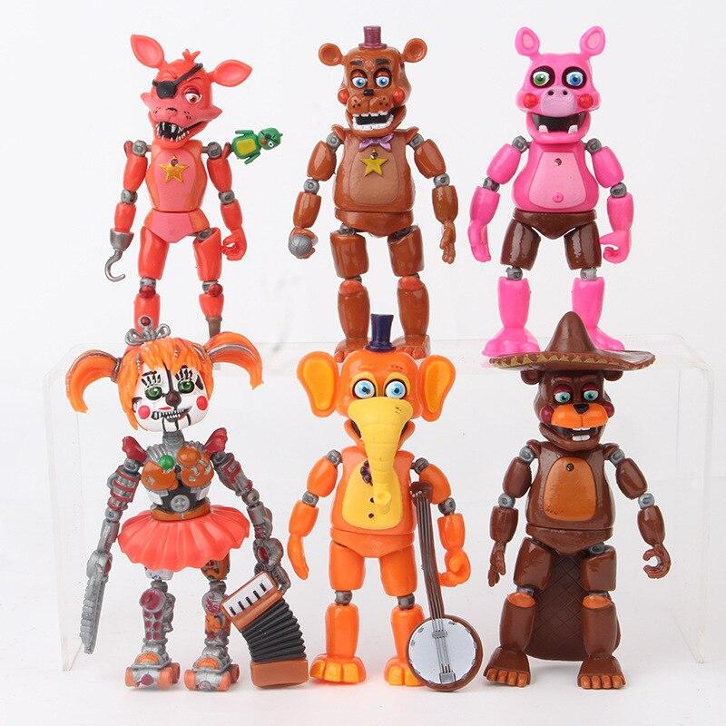 6 pièces/ensemble cinq nuits à Freddy figurine jouet Freddy Fazbear ours FNAF Bonnie Foxy Figurines jouet poupée avec lumière