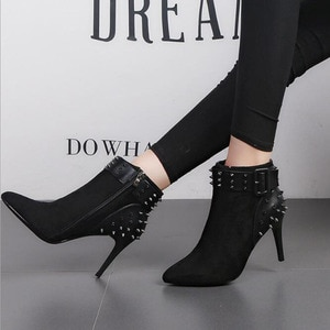 Autumn Winter Women Boots zip High Heels Boots Fashion Sexy Pointed Toe Ankle Boots High Heels Botas Mujer Rivet Drop Shipping
