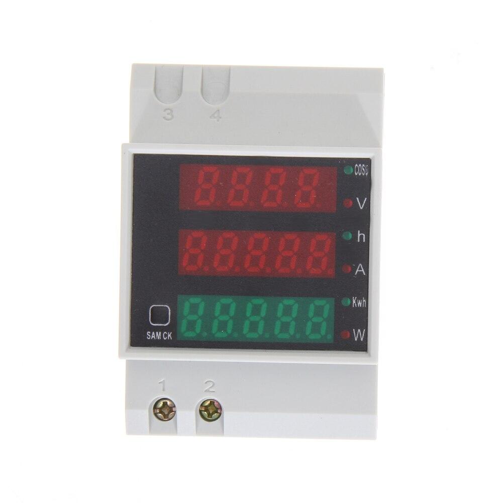 D52-2047 Din рейка Вт амперметр вольтметр Вольт Ампер активный Мощность фактор время энергии Напряжение ток мониторы