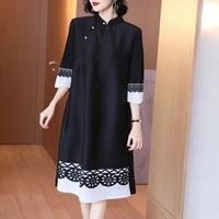 plus size dress vintage women spring stand collar printed patchwork loose three quarter sleeve black dress for women 45 75kg
