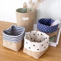 1pcs home decor stripe hanging pocket small sack sundries organizer cosmetic organiser cotton linen storage bag storage baskets