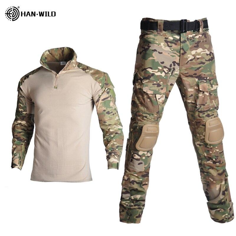 Униформа хан в стиле милитари, тактическая камуфляжная одежда армии США, боевая рубашка в стиле милитари и брюки-карго, наколенники
