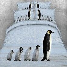 3D Penguin Kids Bed Cover Set Students Bed Linen Set Pillowcase Twin Size 3pcs/set Bedding Set Home Bedclothes for Children Bed