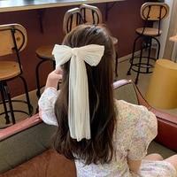 large bow ribbon hairpin chiffon mesh fabric hair clips pins lady girls spring clip wedding hair accessory for bride bridesmaid