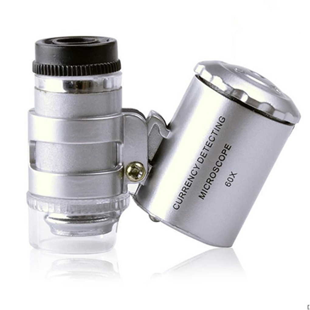 Portable Mini Pocket 60X Microscope Handheld Magnifying Glass Loupe UV Light  Currency Detector Jeweler Magnifier With LED Light