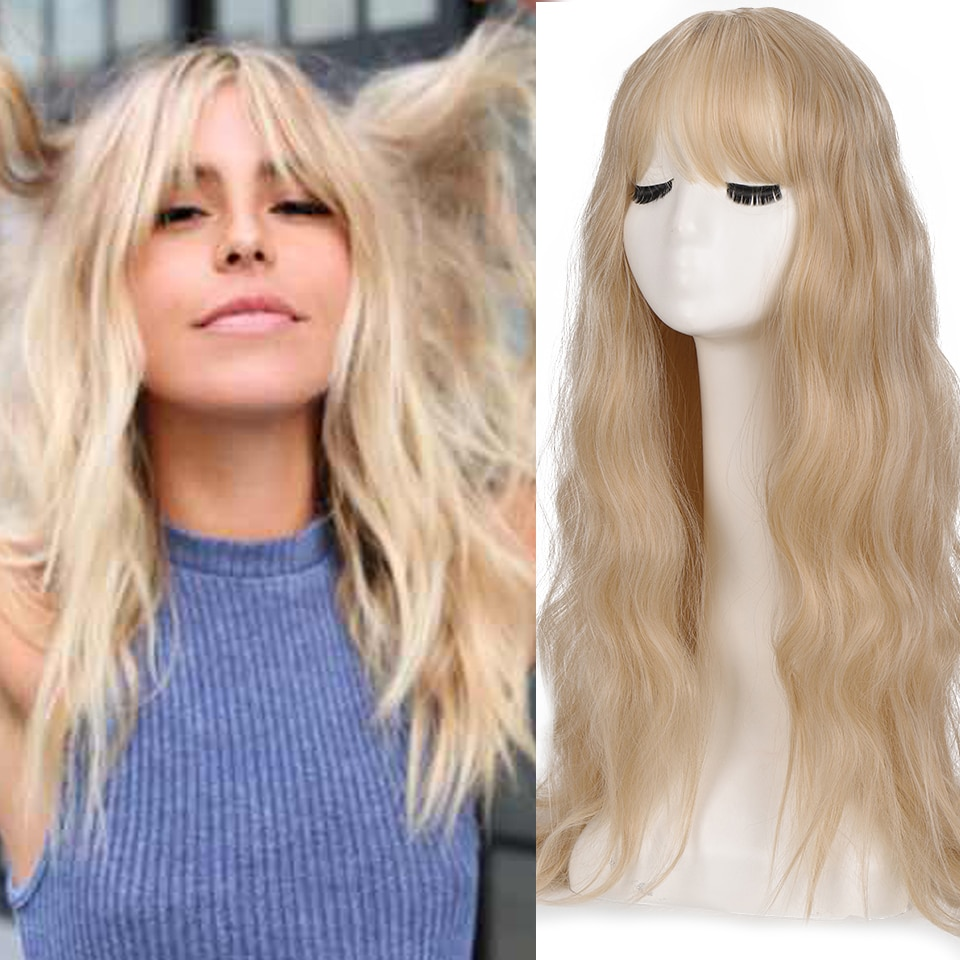 SHANGKE Blonde Long Wavy Womens Wig Synthetic Wigs with Bangs Heat Resistant Cosplay Wig for Women African American