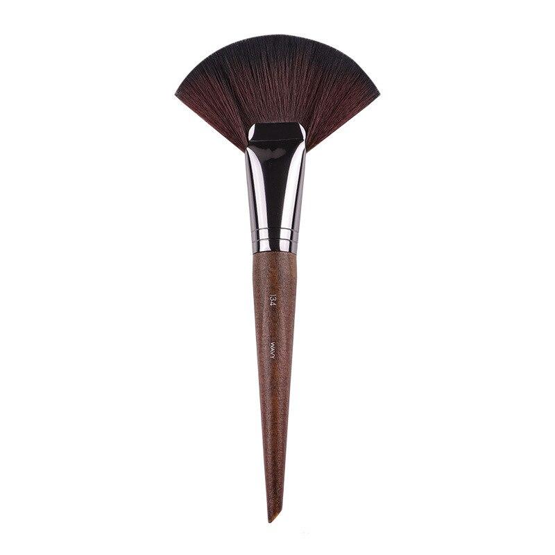 Brocha para maquillaje en polvo, brocha para maquillaje en forma de abanico a gran escala, brocha para resaltador de pelo sintético suelto, brocha para maquillaje, madera
