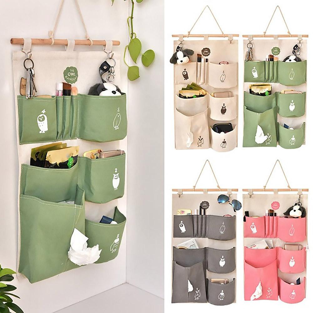 Bonito búho colgante pared armario Multi-Bolsillo bolsa de almacenamiento contenedor organizador