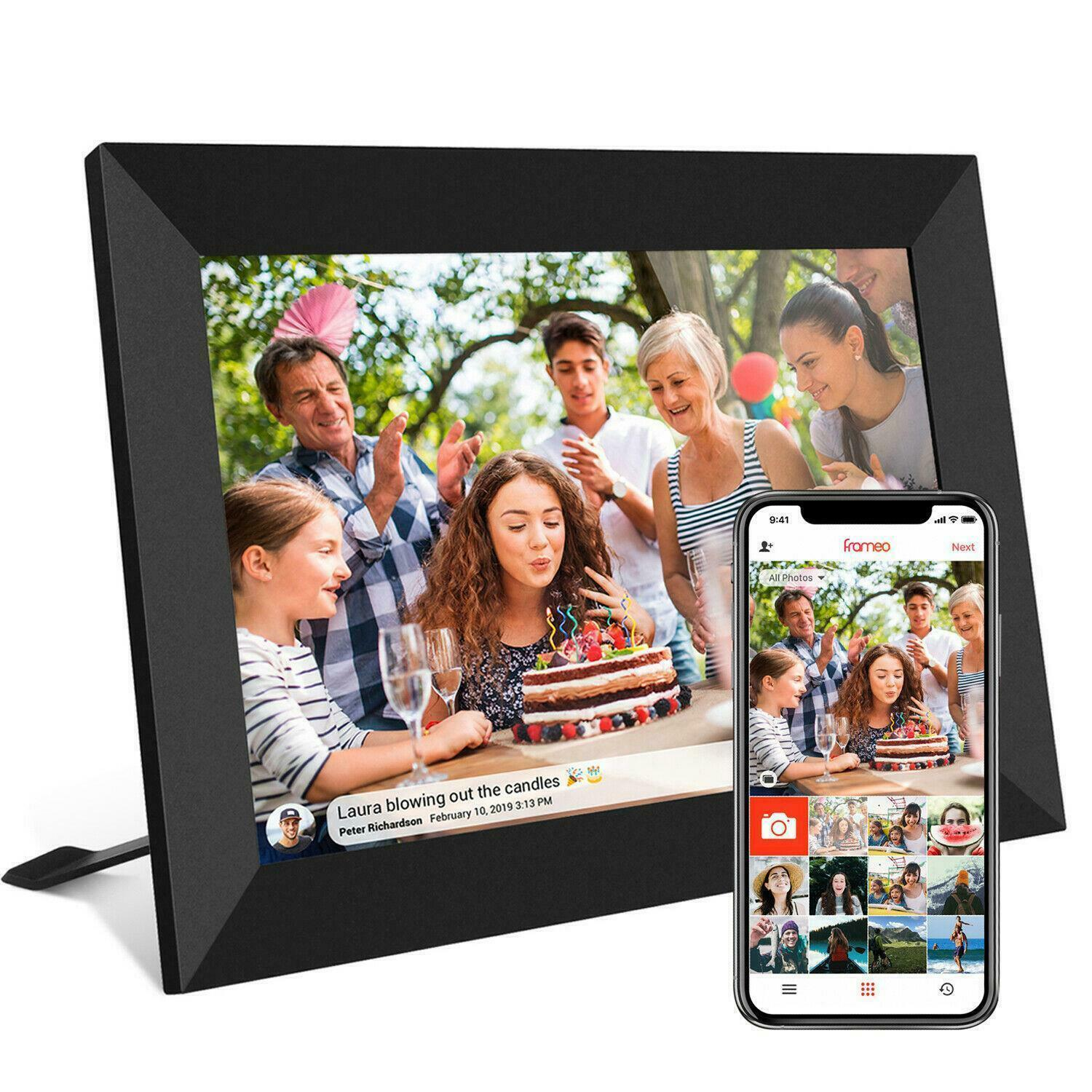 WiFi 10.1 Inch Digital Picture Frame APP Control Touch Screen 16GB Smart Photo Frame Electronics Digital Photo Frame with Holder