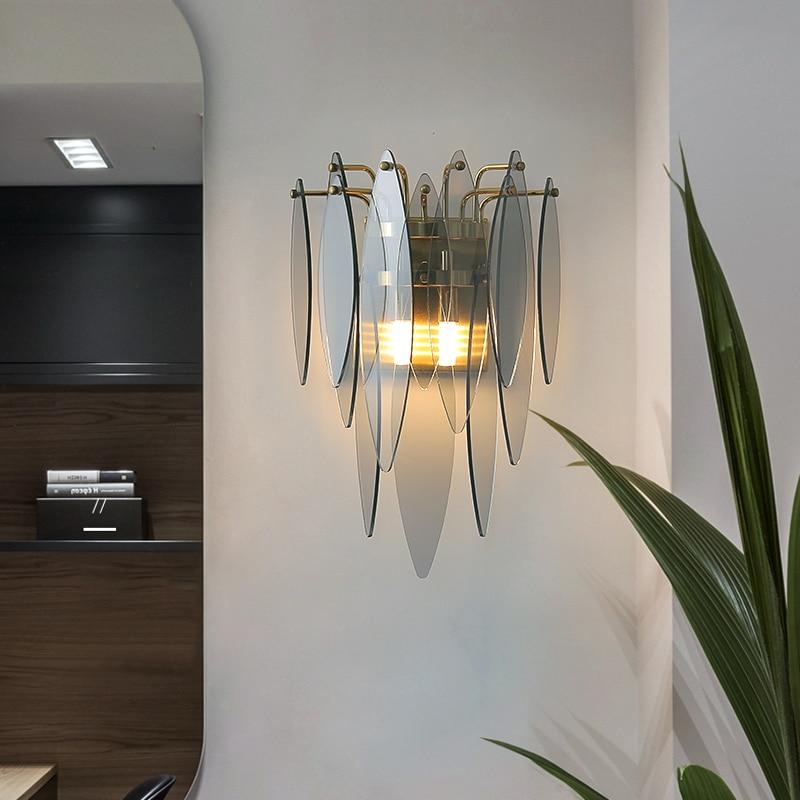 fss pos moderna lampada de parede de vidro dourado americano sala estar fundo lampada