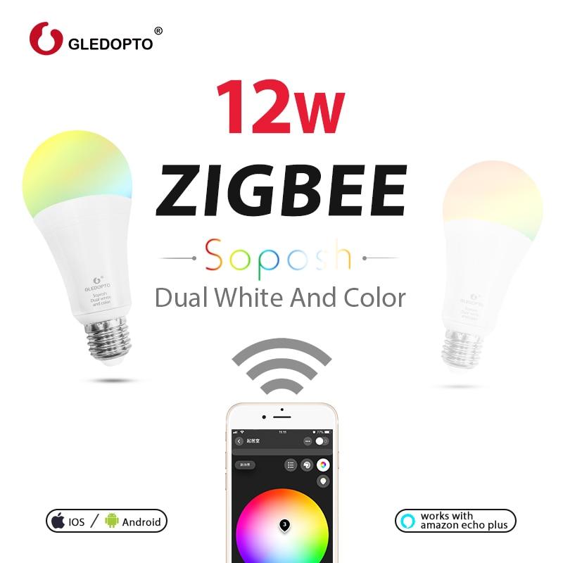Doble blanco y color 12W LED ZIGBEE bombilla RGB AC100-240V ZigBee luz inteligente trabajo con amazon ecoh plus LED E27/E26
